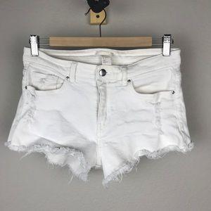 H&M White Denim Distressed Cutoff Shorts